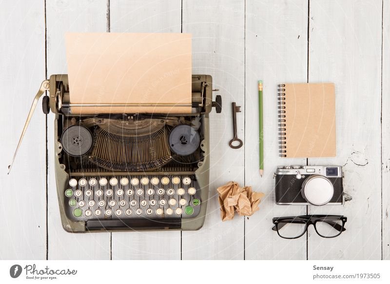 writer's workplace - wooden desk with vintage typewriter Coffee Tea Reading Desk Table Work and employment Office Camera Paper Pen Old Retro Green White Idea