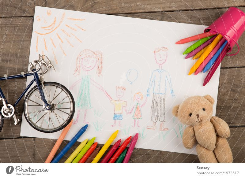 Child's drawing of a happy family Child Colour Green White Adults Yellow Family & Relations Happy Art School Creativity Baby Paper Mother Draw Toys
