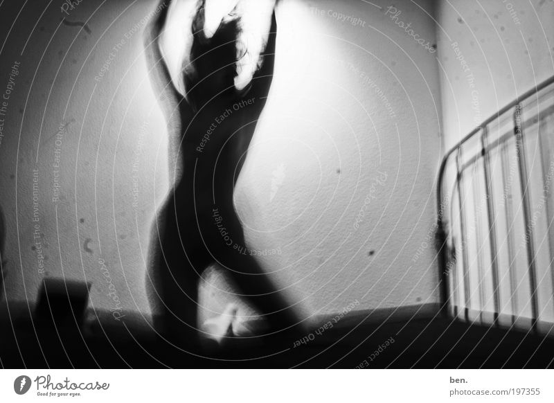 Dark Feminine Eroticism Wall (building) Emotions Uniqueness Bed Exceptional Patch Exotic Scratch mark Black & white photo Long exposure