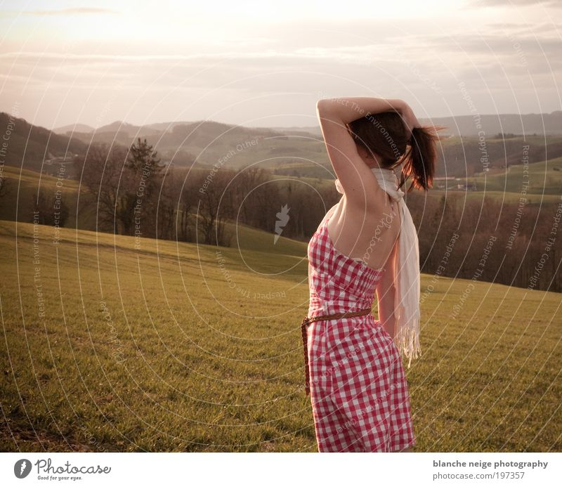 kissed by the sun Elegant Vacation & Travel Freedom Sun Feminine Young woman Youth (Young adults) Woman Adults 1 Human being 18 - 30 years Meadow Field Hill