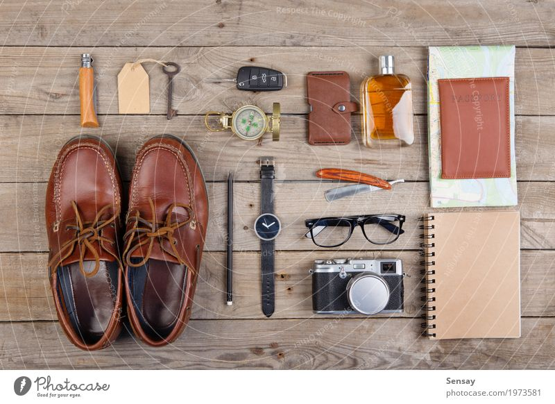 Adventure concept - camera, passport and other stuff for travel Vacation & Travel Man Old Black Adults Fashion Tourism Above Car Footwear Observe Wooden board