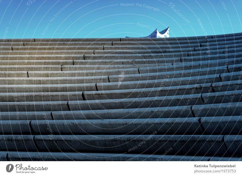 Auf dem Weg zur Elbphilharmonie in Hamburg Blue Town Architecture Movement Building Exceptional Feasts & Celebrations Gray Stone Design Stairs Elegant Modern