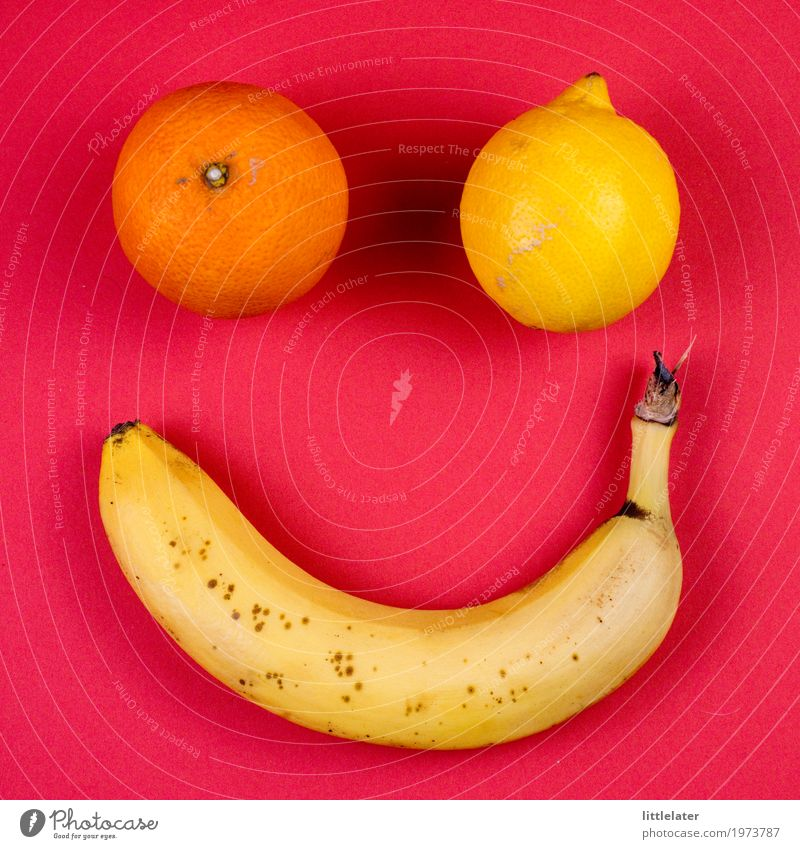 friendly fruit Food Fruit Eating Breakfast Picnic Organic produce Vegetarian diet Diet Thin Banana Lemon Orange Yellow Red Pink Face Funny Happiness Cheerful