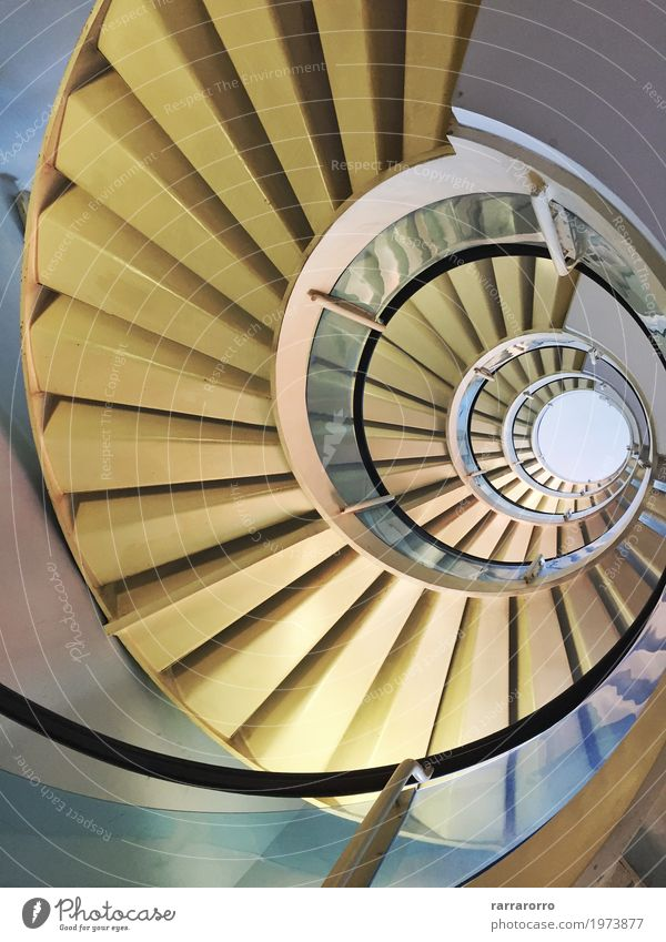 Modern spiral staircase Town Architecture Building Contentment Stairs High-rise Europe Perspective Tall Circle Italy Manmade structures Spiral Vertigo