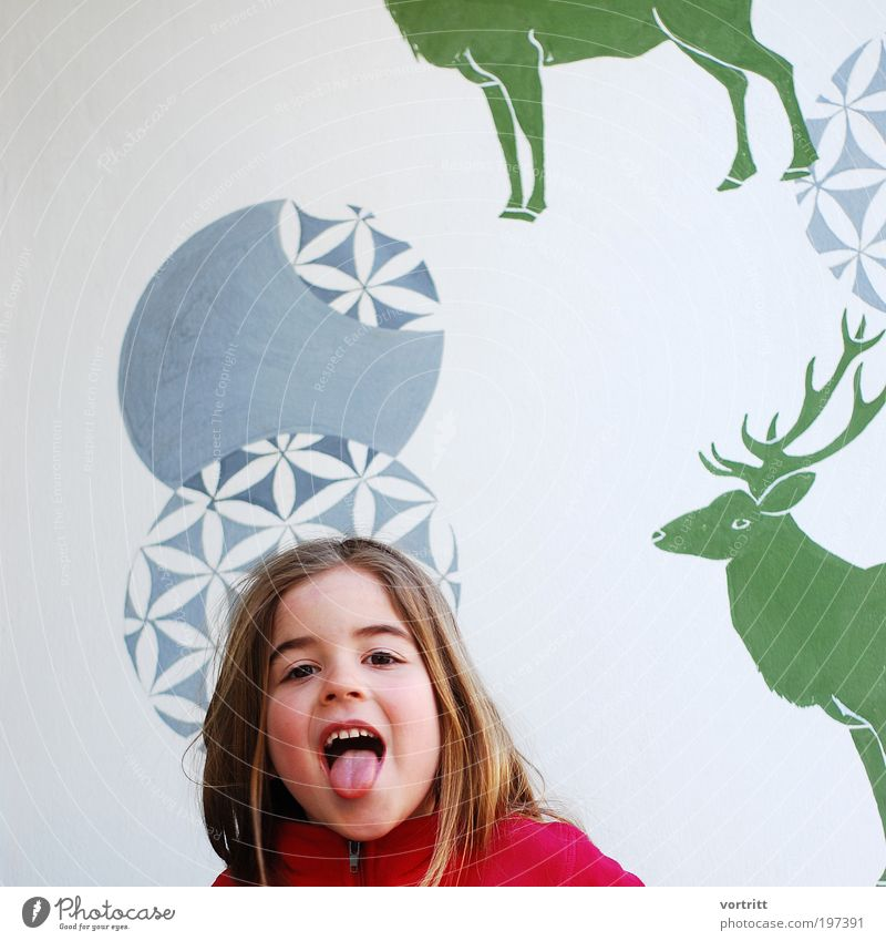 Human being Child Girl Animal Infancy Wild animal Design Authentic Sign Hunting Joie de vivre (Vitality) Brash Long-haired Deer Ornament 3 - 8 years