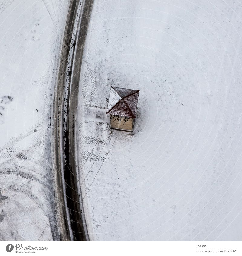settler Energy industry Winter Snow Deserted House (Residential Structure) Hut Tower Roof Street Cold power supply distribution box Colour photo Subdued colour