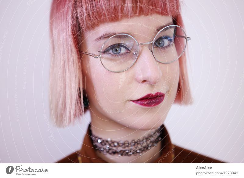 Clear view Lifestyle Style Beautiful Young woman Youth (Young adults) Face 18 - 30 years Adults Jewellery Eyeglasses Red-haired Short-haired red lips Observe