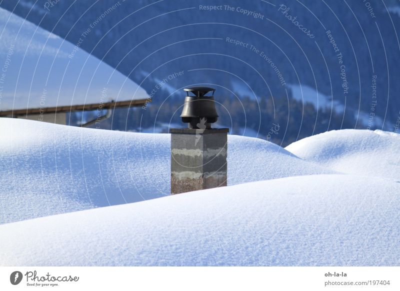 Chimney in the snow Snow Architecture Roof Stone Calm Colour photo Exterior shot Detail Structures and shapes Morning Contrast Central perspective