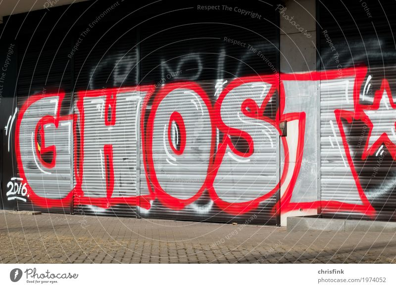 GHOST Graffiti Lifestyle Design Joy House (Residential Structure) Art Deserted High-rise Industrial plant Wall (barrier) Wall (building) Sign Characters Draw