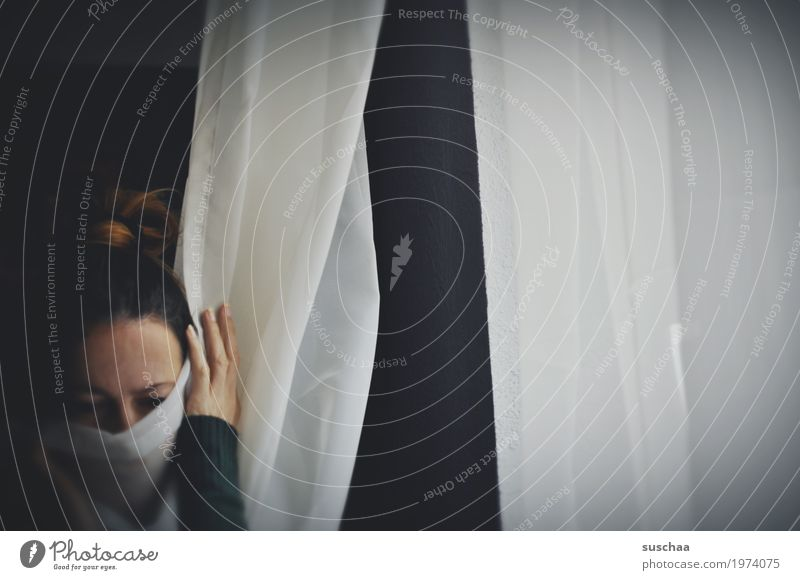 mute Woman Head Silent Packaged Drape Window Dark Sadness Unconscious concealment wordless Captured Hide Fear Loneliness Crime thriller Stress Threat Crisis