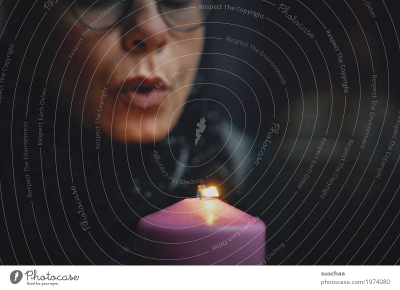 Woman Face Birthday Mouth Eyeglasses Fire Candle Lips Blow Flame