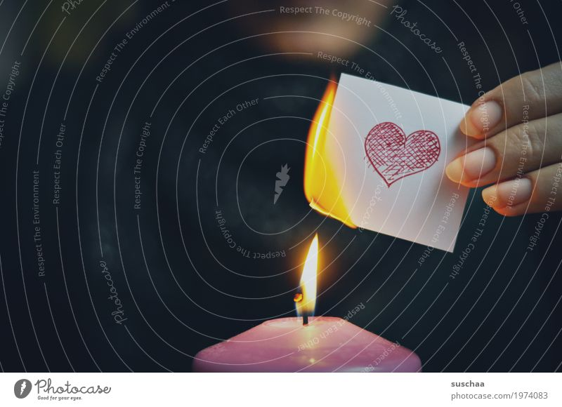 Hand Dark Sadness Love Heart Fingers Paper Fire Candle Symbols and metaphors Burn Flame Goodbye Lovesickness Resign