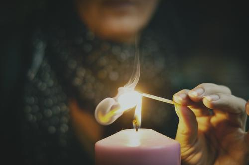 it's getting too dark ... Woman Hand Fingers Fire Smoke Candle Candlewick Flame Burn Match Ignite Light Warmth Winter Cold Christmas & Advent