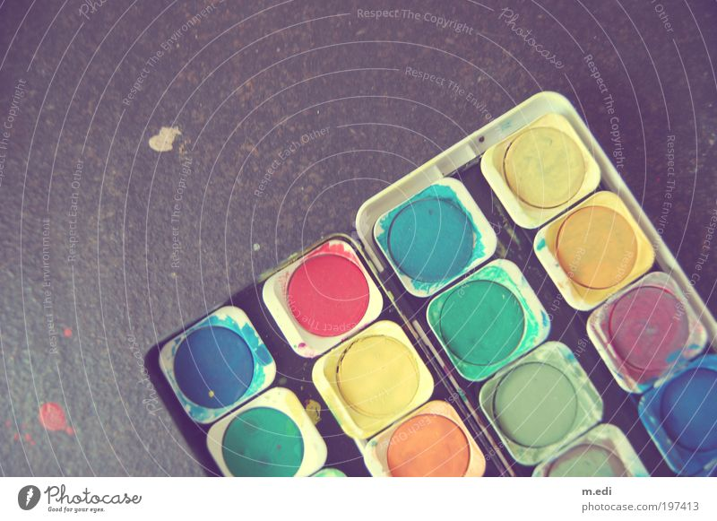 Green Blue Red Yellow Playing Brown Art Pink Violet Kitsch Painting (action, artwork) Painter Handicraft Human being Copy Space left Artist