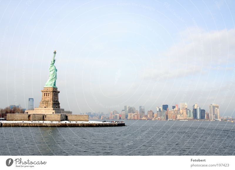 Winter Freedom Moody Architecture High-rise Bank building Skyline Manmade structures Landmark New York City Tourist Attraction Statue of Liberty Americas USA