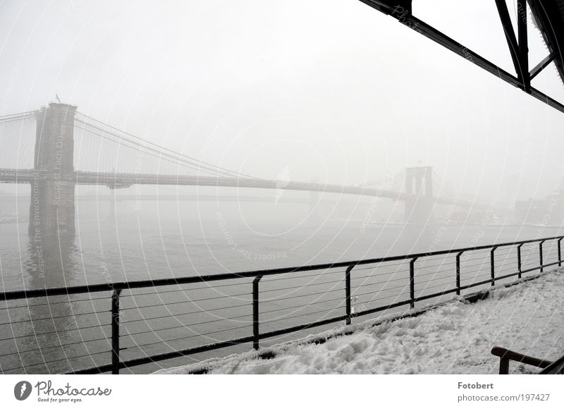 fog bridge Deserted Bridge Manmade structures Architecture Tourist Attraction Landmark Brooklyn Bridge Famousness Historic New York City Subdued colour
