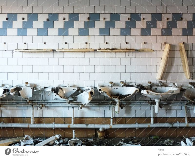 Old White House (Residential Structure) Building Architecture Poverty Crazy Industry Arrangement Bathroom Kitchen Factory Broken Construction site Clean Tile
