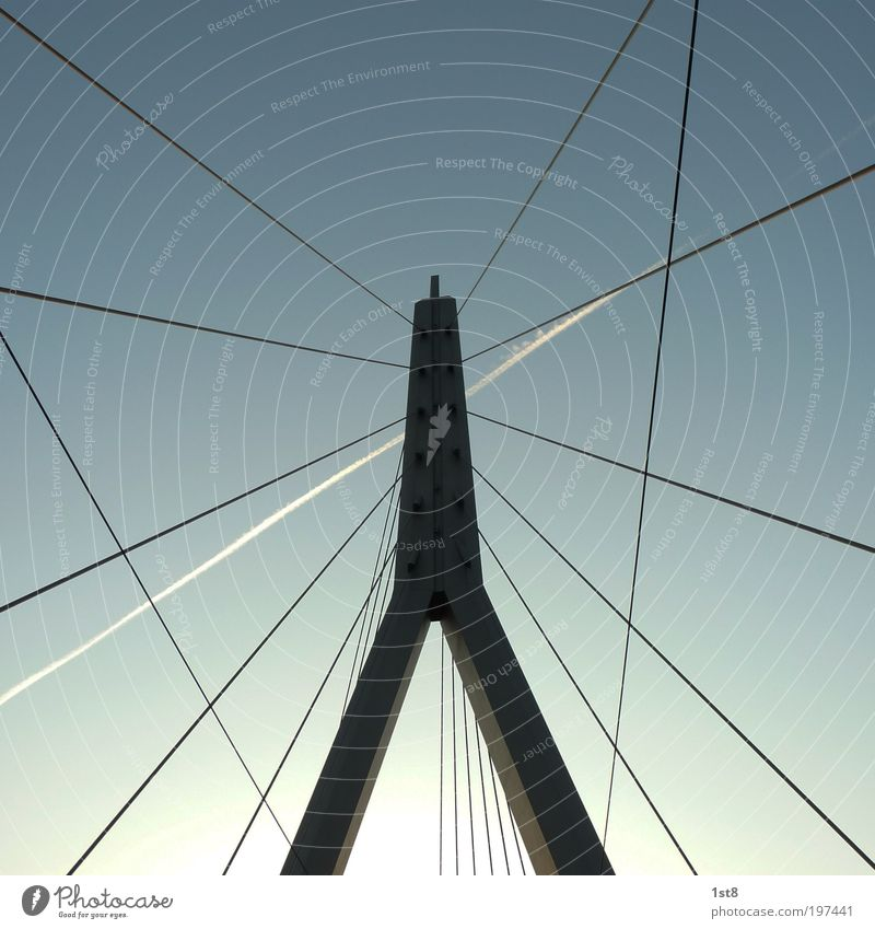 Sky Calm Street Architecture Lanes & trails Power Transport Aviation Bridge Tower Manmade structures Longing Steel cable Traffic infrastructure