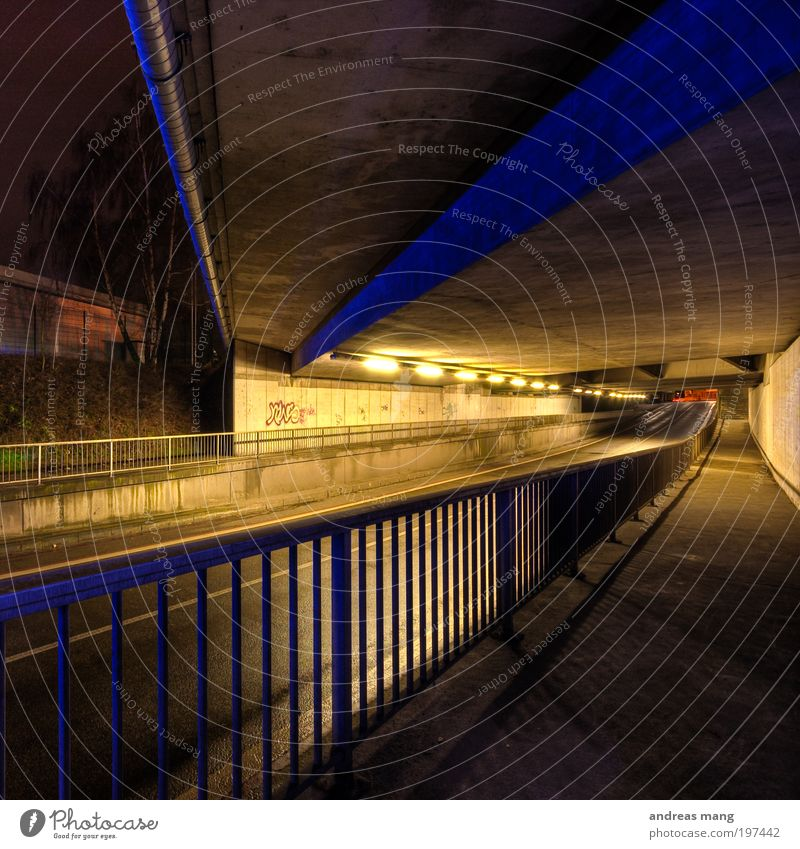 depth Lamp Transport Traffic infrastructure Motoring Pedestrian Street Tunnel Fear Symmetry Handrail Dark Light Contrast Colour photo Night Artificial light