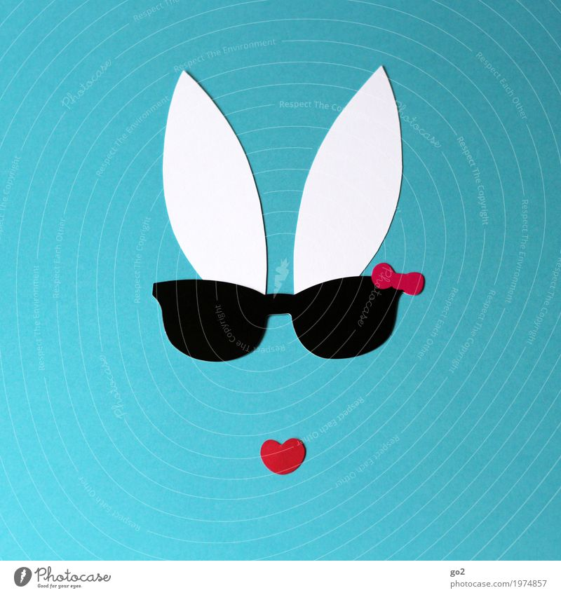 Cool bunny Leisure and hobbies Handicraft Easter Sunglasses Animal face Hare & Rabbit & Bunny Ear Paper Heart Esthetic Cool (slang) Simple Funny Cliche