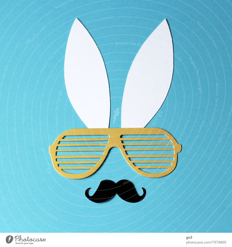 macho bunny Handicraft Easter Spring Moustache Animal Animal face Hare & Rabbit & Bunny Ear 1 Decoration Eyeglasses Paper Sign Esthetic Happiness Funny Cliche