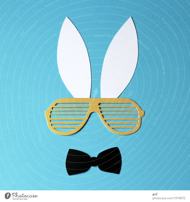 Funny Esthetic Creativity Joie de vivre (Vitality) Simple Paper Cool (slang) Easter Ear Animal face Sunglasses Hare & Rabbit & Bunny Whimsical Handicraft Bow tie Cliche