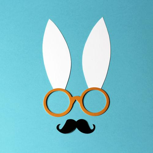 Professor Hase Leisure and hobbies Handicraft Easter Eyeglasses Moustache Animal face Hare & Rabbit & Bunny Ear Paper Decoration Exceptional Uniqueness Funny