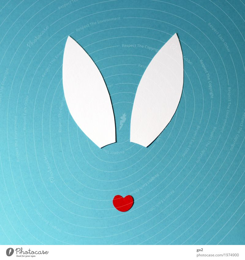 Easter shasha Handicraft Animal Animal face Hare & Rabbit & Bunny Ear 1 Decoration Sign Heart Esthetic Simple Happiness Funny Eroticism Feminine Blue Red White