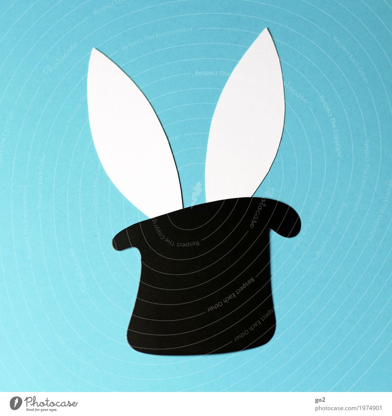 Easter surprise Handicraft Hat Top hat Animal Hare & Rabbit & Bunny Ear 1 Decoration Paper Sign Esthetic Simple Happiness Funny Curiosity Cute Blue Black White