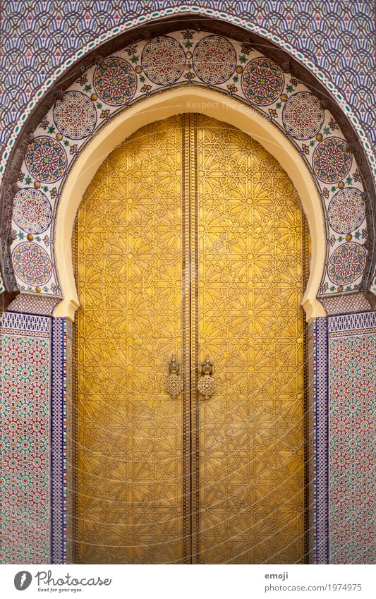gate House (Residential Structure) Dream house Church Palace Manmade structures Building Mosque Tourist Attraction Kitsch Gold Gate Ornament Morocco Marrakesh