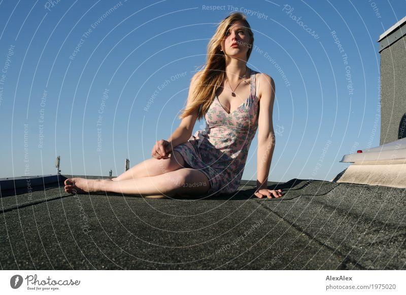 at the very top Lifestyle Style Beautiful Roof Young woman Youth (Young adults) Hair and hairstyles Legs 18 - 30 years Adults Landscape Cloudless sky Chimney