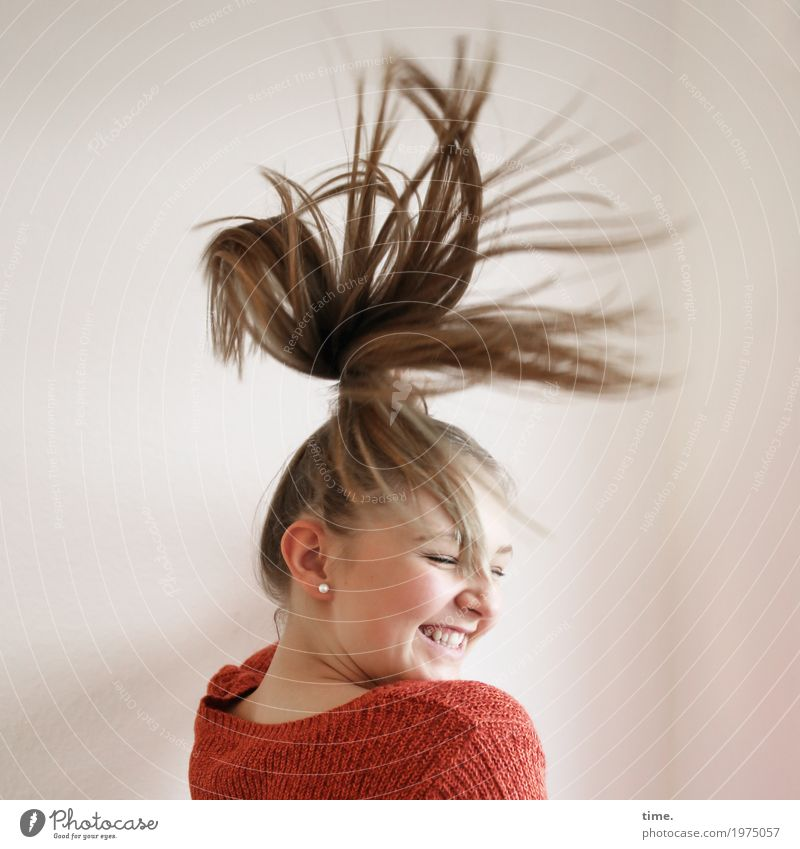 . Feminine Woman Adults 1 Human being Sweater Hair and hairstyles Blonde Long-haired Movement Rotate To enjoy Laughter Dance Beautiful Joy Happy Happiness