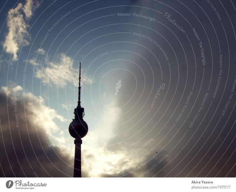 Sky Blue White Sun Summer Clouds Black Loneliness Berlin Gray Weather Hope Tower Threat Observe Landmark