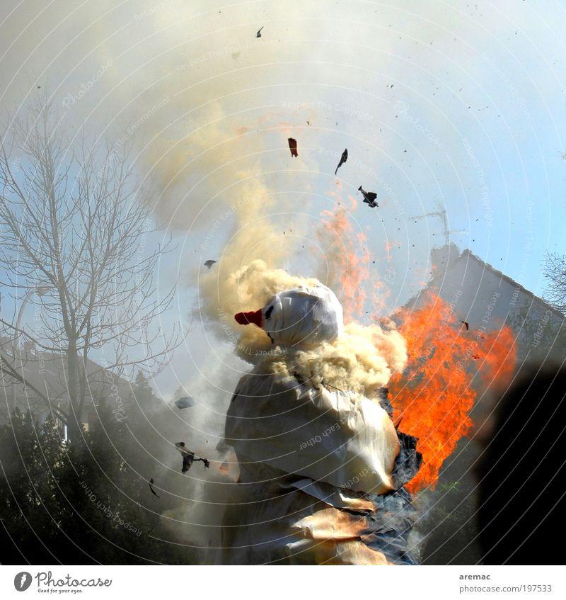 Human being Blue White Red Disaster Masculine Nose Blaze Art Fire Smoking Hot Trashy Event Sculpture Culture