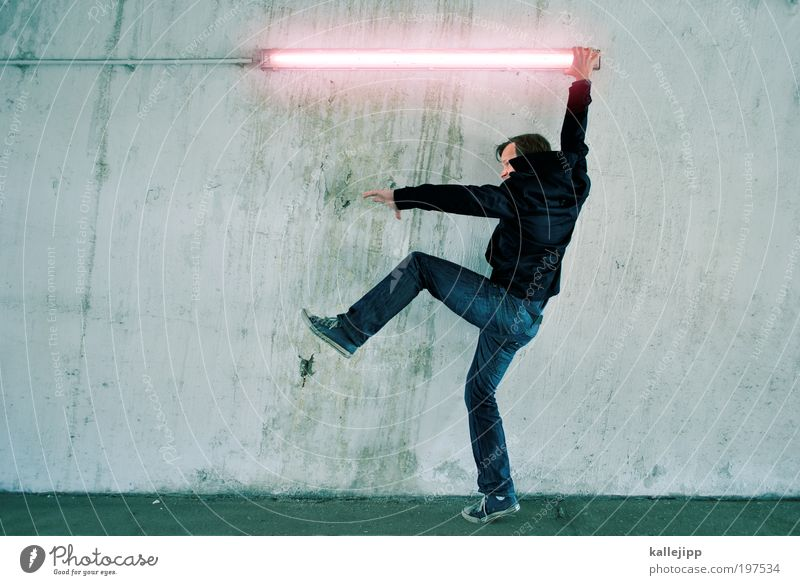 Darth Vader Martial arts Human being Masculine Man Adults 1 Jeans Jacket Sneakers Fight War Crisis Energy Electricity Light Neon light Sword battle Strong Power