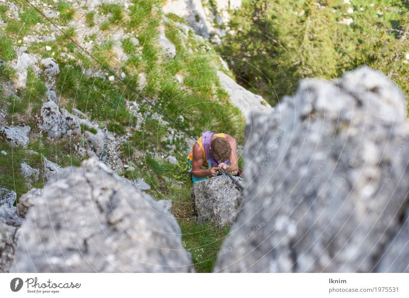 On the paths of the mountains Healthy Athletic Fitness Climbing Mountaineering Masculine Young man Youth (Young adults) Man Adults 1 Human being 13 - 18 years