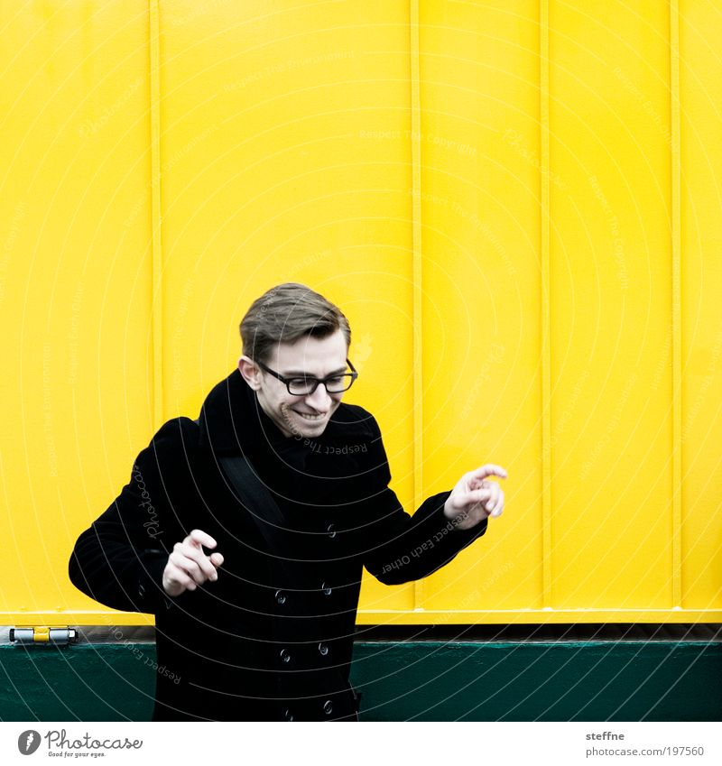 Human being Youth (Young adults) Yellow Funny Adults Masculine Happiness Cool (slang) Eyeglasses Authentic Uniqueness Joie de vivre (Vitality) Man Portrait photograph Funster Young man