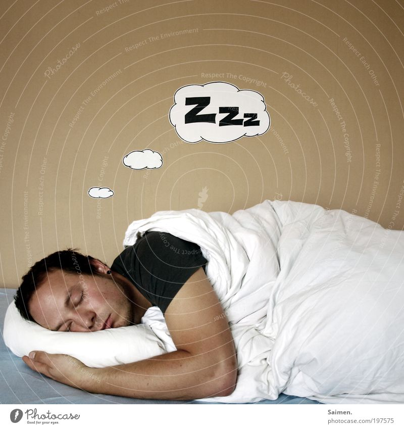 Man Calm Life Relaxation Happy Dream Head Contentment Healthy Adults Masculine Sleep Bed T-shirt Lie Longing