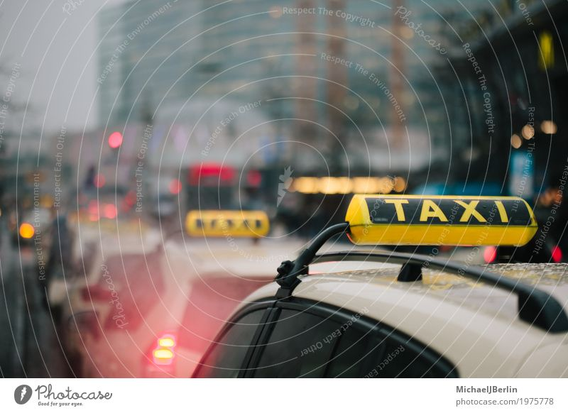 Taxis in Queue in Big City Background Transport Means of transport Public transit Motoring Wait Yellow Vacation & Travel Services Berlin capital cities Germany