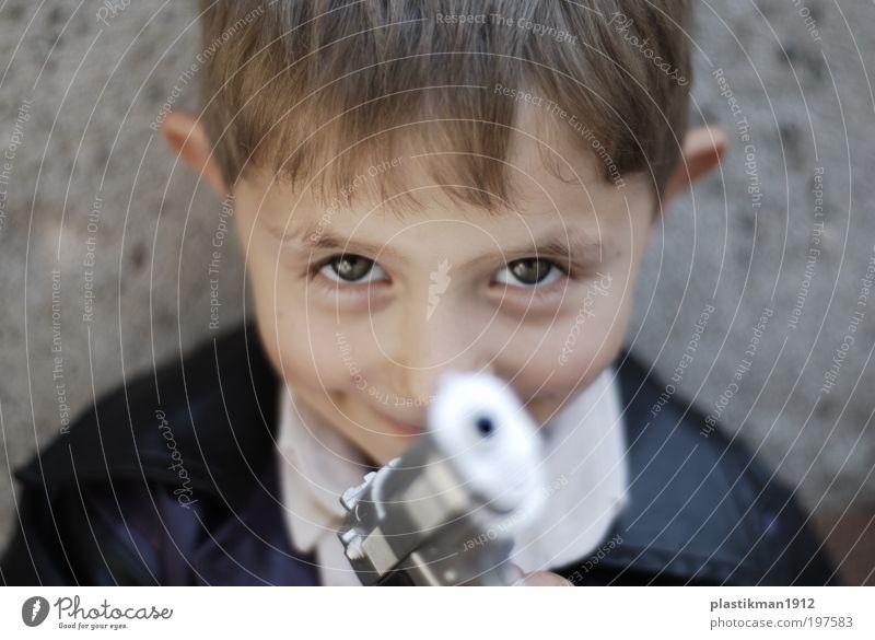 barrel of gun Human being Child Face Eyes Boy (child) Head Small Infancy Blonde Toys Weapon Handgun Children's game 3 - 8 years Children's eyes