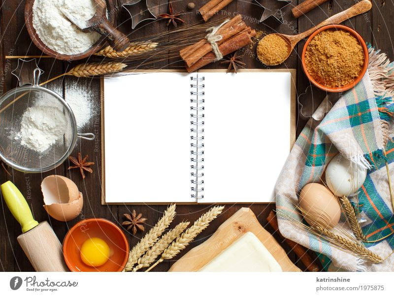 Blank cooking book, ingredients and utensils top view White Wood Brown Fresh Table Paper Herbs and spices Kitchen Grain Dessert Bread Egg Bowl Baked goods Sugar Dough
