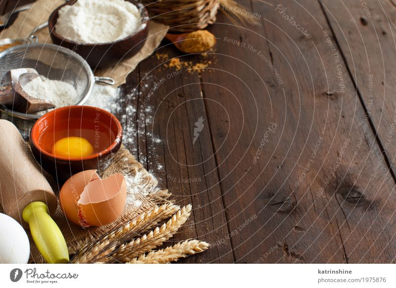 Ingredients and utensils for baking close up White Wood Brown Fresh Grain Bread Egg Bowl Baked goods Dough Cooking Raw Rustic Ingredients Flour Blank