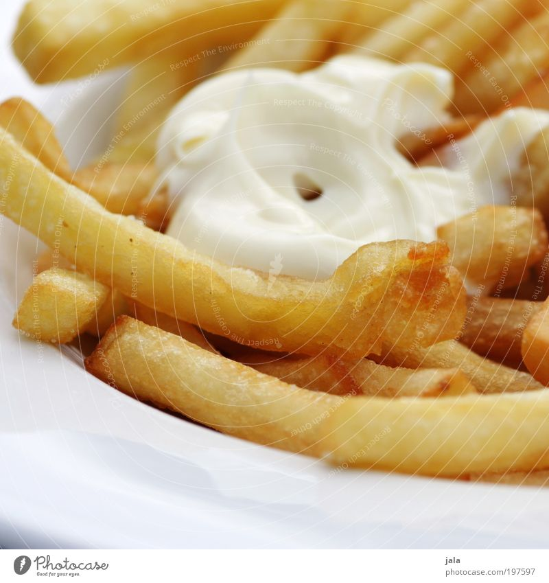 Nutrition Food Good Hot Delicious Fat Plate Lunch Fast food French fries Crisp Mayonnaise