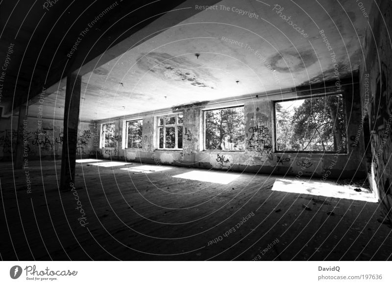Old White Black Wall (building) Window Wall (barrier) Building Perspective Broken Transience Manmade structures Ruin Hall Light Black & white photo Bans
