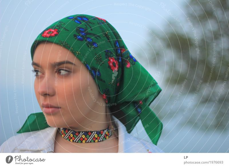 profile of a girl with green scarf Lifestyle Elegant Style Design Make-up Vacation & Travel Tourism Fairs & Carnivals Human being Feminine Girl Young woman