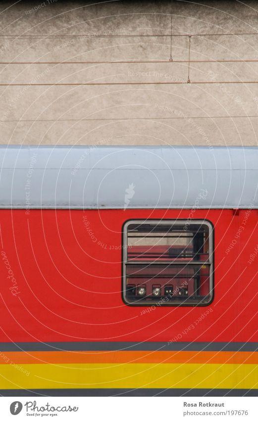 Red Yellow Wall (building) Window Gray Wall (barrier) Line Metal Dirty Design Concrete Horizon Modern Esthetic Retro Driving