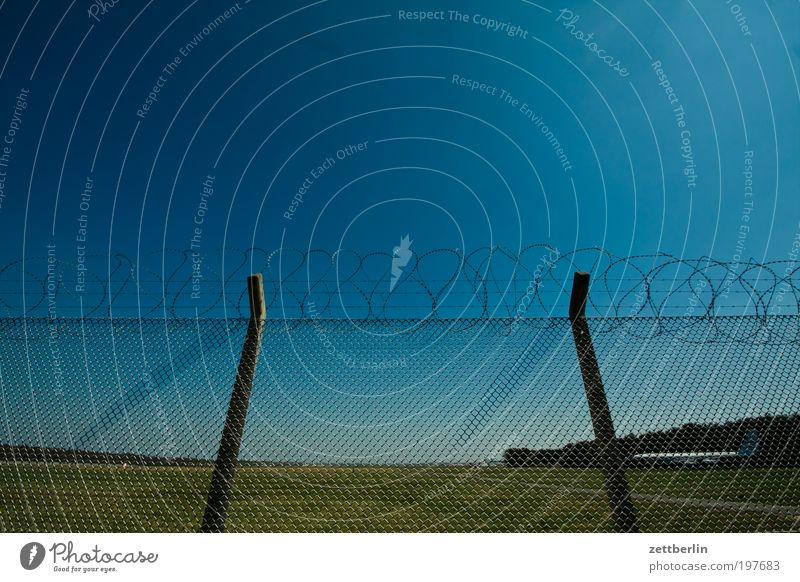 Flight ban 2 Fence Wire netting fence Bans Exclusion zone Airport Airfield Military Barbed wire Barbed wire fence Fence post Safety Sky Beautiful weather