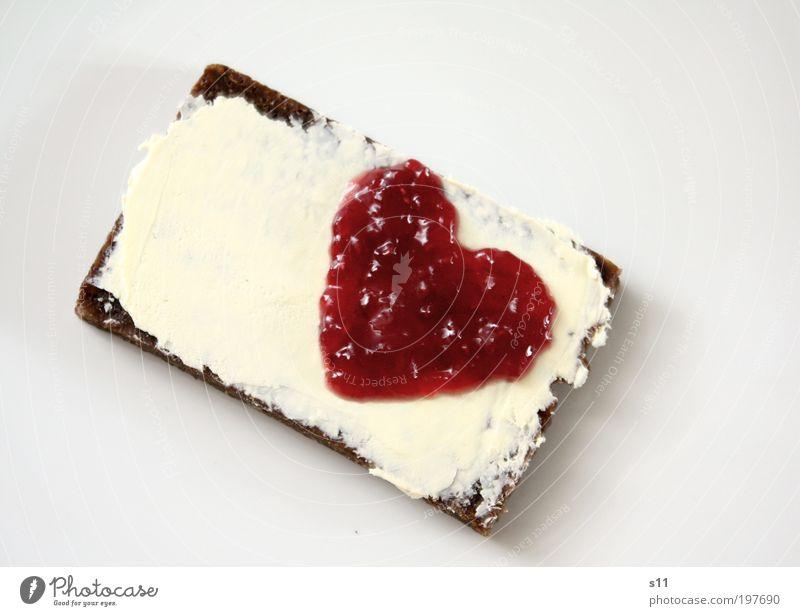 Love for breakfast Food Dairy Products Fruit Bread Jam Nutrition Breakfast Plate Heart Cool (slang) Sharp-edged Kitsch Sweet Red White Joy Happy Infatuation