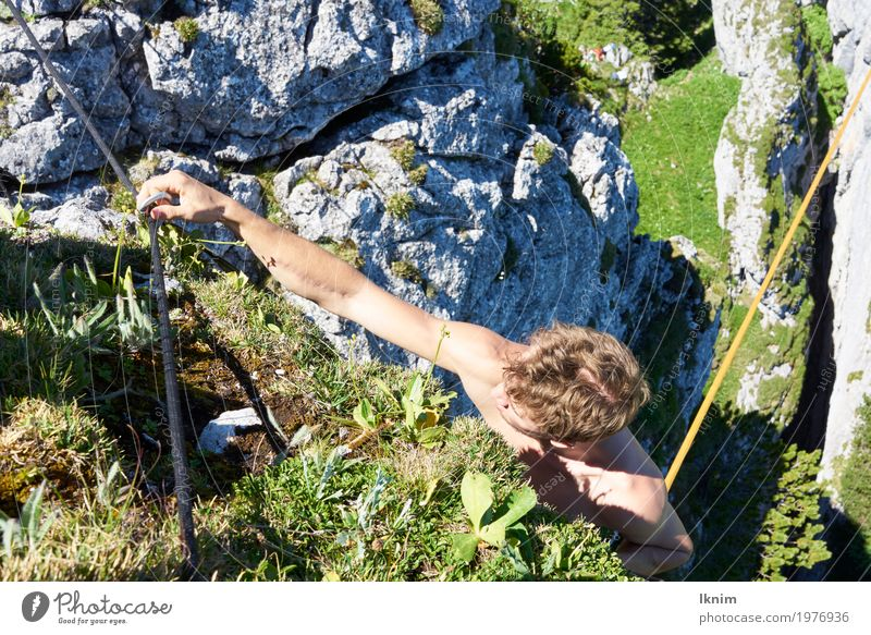 climbing desire Young man Youth (Young adults) 1 Human being 18 - 30 years Adults Sports Climbing Mountaineer Backup carabiners Rock Nature Athletic Safety