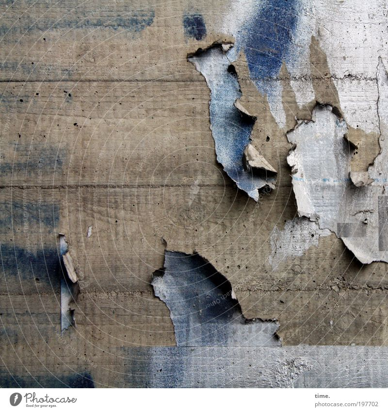 Old Blue Wall (building) Gray Dirty Concrete Paper Broken Derelict Decline Shabby Hang Crack & Rip & Tear Poster Remainder Rip